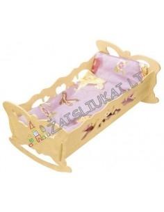 Raižyta medinė lovytė-sūpuoklė su pataliukais
