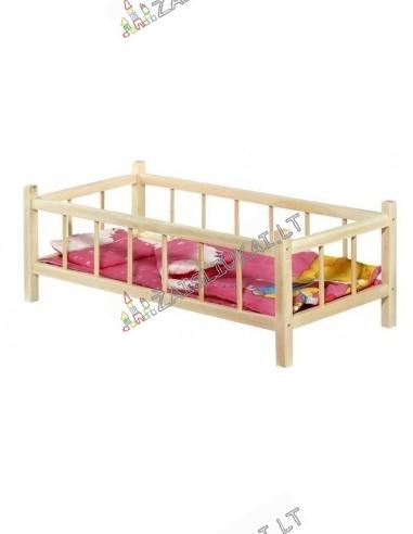 Medinė lovytė lėlei su pataliukais