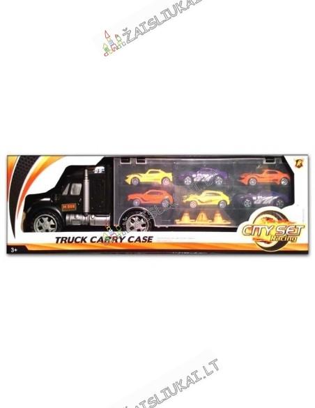 Žaislinis sunkvežimis – tralas su automobiliukais
