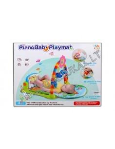 Aikštelė su žaislais virš kūdikio - fitness pianinas, kilimas