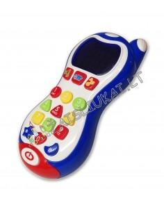 Tvirtas telefonas su šviečiančiu ekranu
