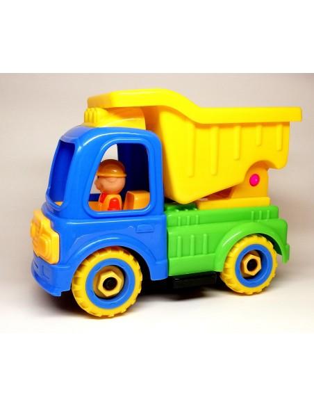 Surenkamas, išardomas žaislinis sunkvežimis savivartis su atsuktuvu