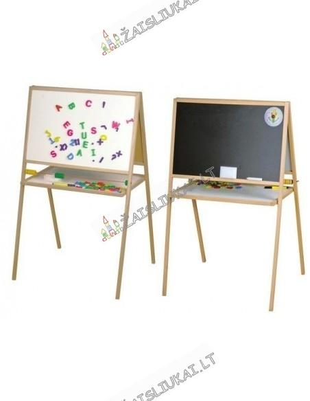 Dvipusė medinė-magnetinė piešimo lenta