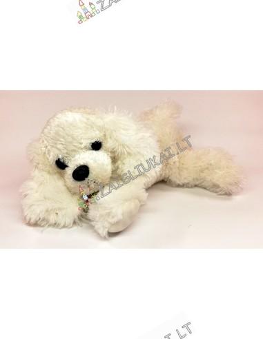 Minkštas baltas žaislas lojantis šuo