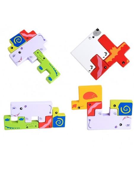 Tetris - Dėlione medinės kaladėlės