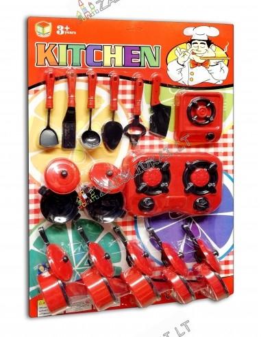 Vaikiškas virtuvinių puodų rinkinys su maža virykle