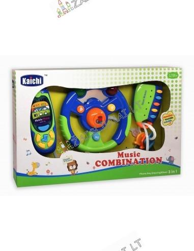 Vaikiški telefonas, vairas ir raktai su signalizacijos pulteliu