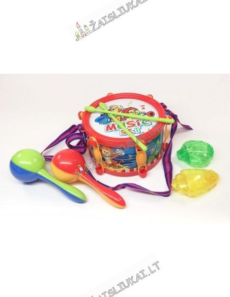 Vaikiški muzikiniai instrumentai, būgnas, marakasai
