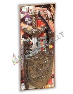 Riterio rinkinys su lanku, kardu ir skydu