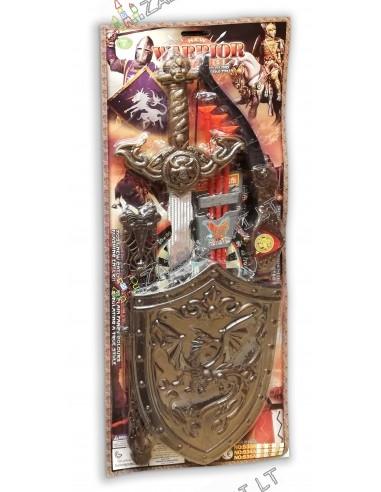 Pilnas Riterio rinkinys su lanku, kardu ir skydu