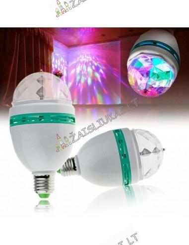 Besisukanti šviesos ir muzikos LED lemputė