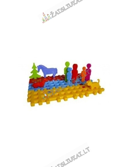 Vaflinių kaladėlių rinkinys - aikštelė, gyvūnai ir šeima