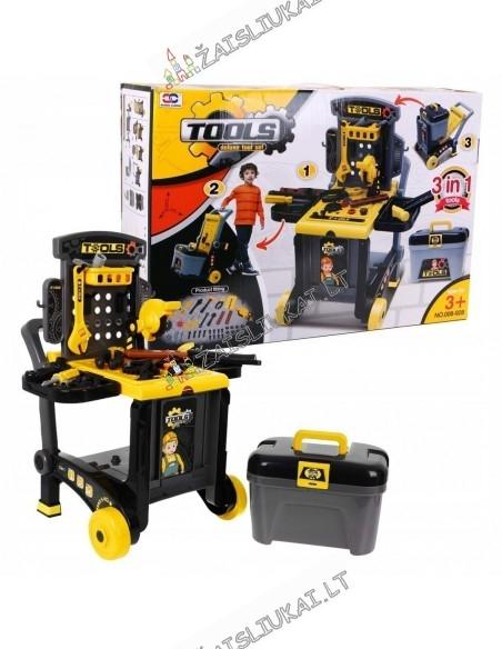 Meistro stalas ant ratų su įrankiais