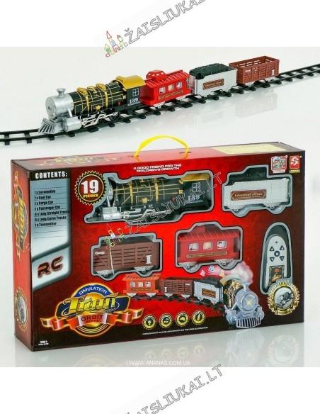 Kalėdinis valdomas traukinys su bėgiais ir dūmais