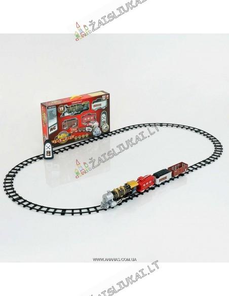 Valdomas traukinys su bėgiais, dūmais