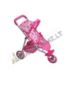 Žaislinis metalinis 53 cm sportinis vežimėlis lėlėms iki 38 cm