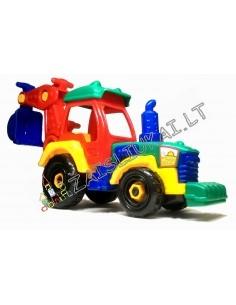 Surenkamas žaislinis traktorius - ekskavatorius