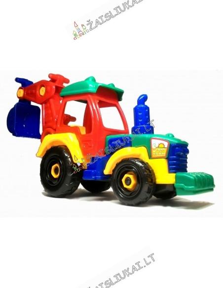 Surenkamas tvirtas žaislinis traktorius - ekskavatorius