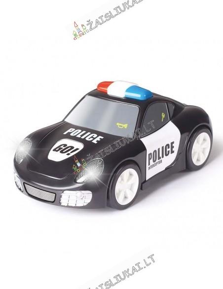 Žaidžianti su vaiku tvirta policijos mašina su garsais