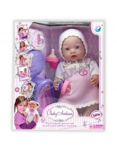 Lėlė - kūdikis su mažylio priežiūros reikmenimis