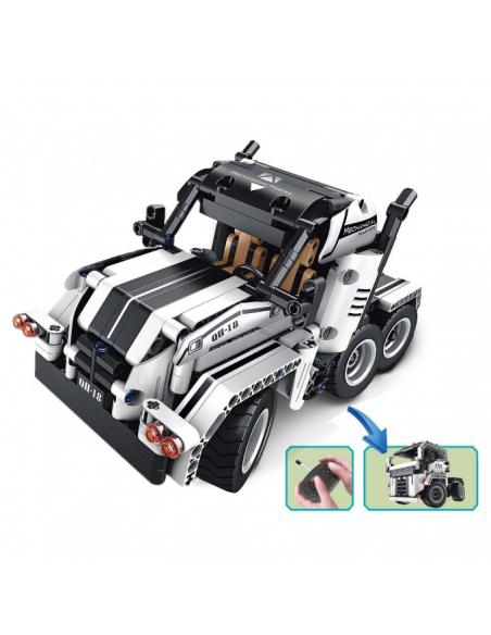 Radio bangomis valdomas 2-viename sunkvežimių konstruktorius suderinamas su Lego Technics