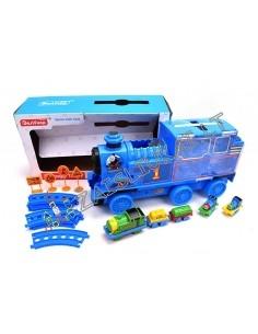Žaislinis traukinys su bėgiais ir lagaminu