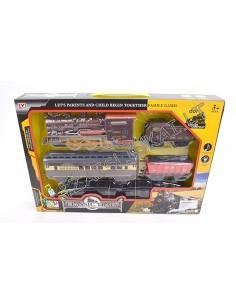 Žaislinis stambus traukinys su bėgiais