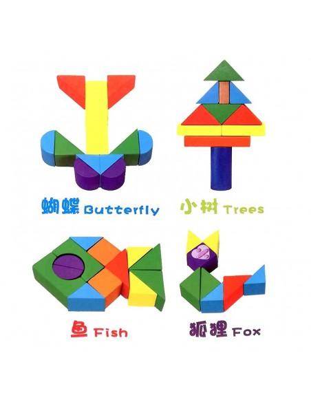 Medinės kaladėlės 50 vnt su  formelių rūšiuoklė