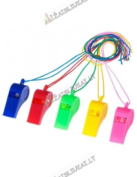Sportinis varžybų plastikinis švilpukas su virve