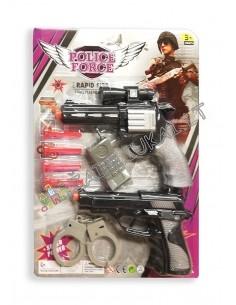 Vaikiškas policininko rinkinys su revolveriu ir pistoletu