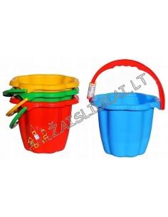 Smėlio žaislas vaikiškas plastikinis kibirėlis 19,5 cm