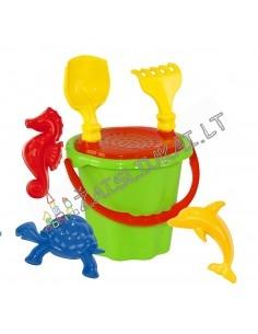 Mažas smėlio žaislų rinkinys su kibirėliu 34 cm