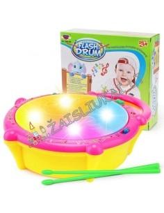 Plastikinis vaikiškas šviečiantis, muzikinis bugnas su pagaliukais