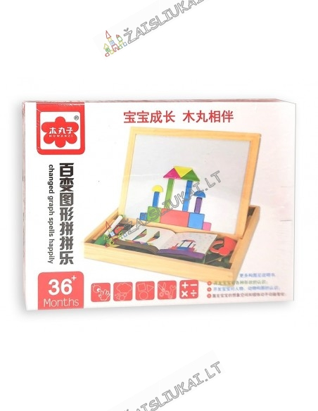 Medinė magnetinė lenta - dėlionė - galvosūkis su geometrinėmis figūromis