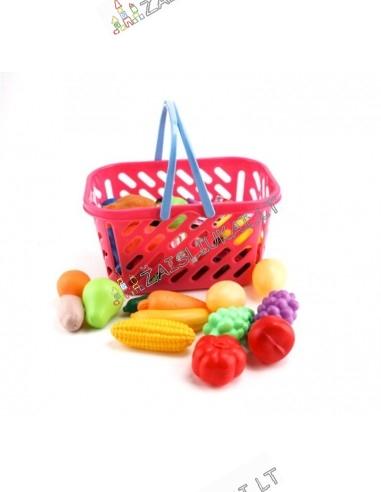 Žaislinis pirkinių krepšelis su įvairių produktų rinkinių  29 vnt