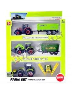 Maži metaliniai modeliukai -  3 traktoriai su priekaba