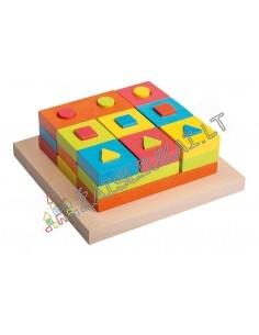 Edukacine priemonė - Stačiakampių ir kvadratų rūšiavimo lenta su 9 stripais