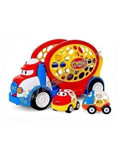 Mažyliams DIDELIS žaislinis sunkvežimis – tralas su automobiliukais QBALL