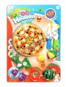 Pjaustomas maistas - 6 dalių pica ir 5 produktai