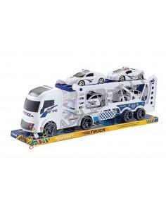 Žaislinis policijos sunkvežimis – tralas su policijos automobiliukais