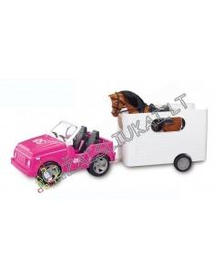 """Lėlių mašina-kabrioletas su arklių ir arklio priekaba """"Žirgų paroda"""""""