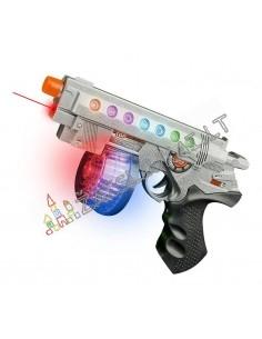 Žaislinis ginklas-pistoletas su garsais ir šviesos efektais