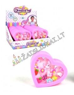 Širdies formos dėžutė su 16 žiedų