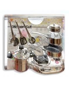 Vaikiškas virtuvinių puodų rinkinys su virykle