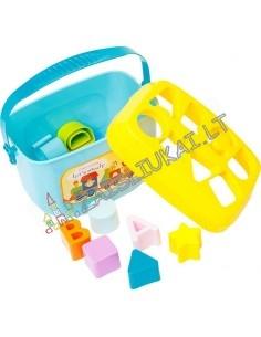 Plastikinė žaislų dėže su formelių rūšiuoklė