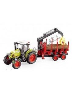 Žaislinis traktorius su priekaba ir manipuliatoriumi