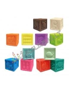 Edukacinių žaislų rinkinys mažyliams - guminiai kubai