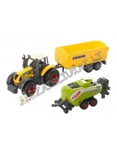 Mažas metalinis modeliukas Traktoriaus su priekaba