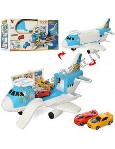 Orlaivio modelis - visavertis garažas su mašinomis