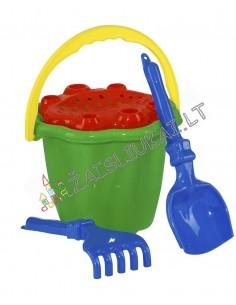 Vidutinis smėlio žaislų rinkinys su kibirėliu